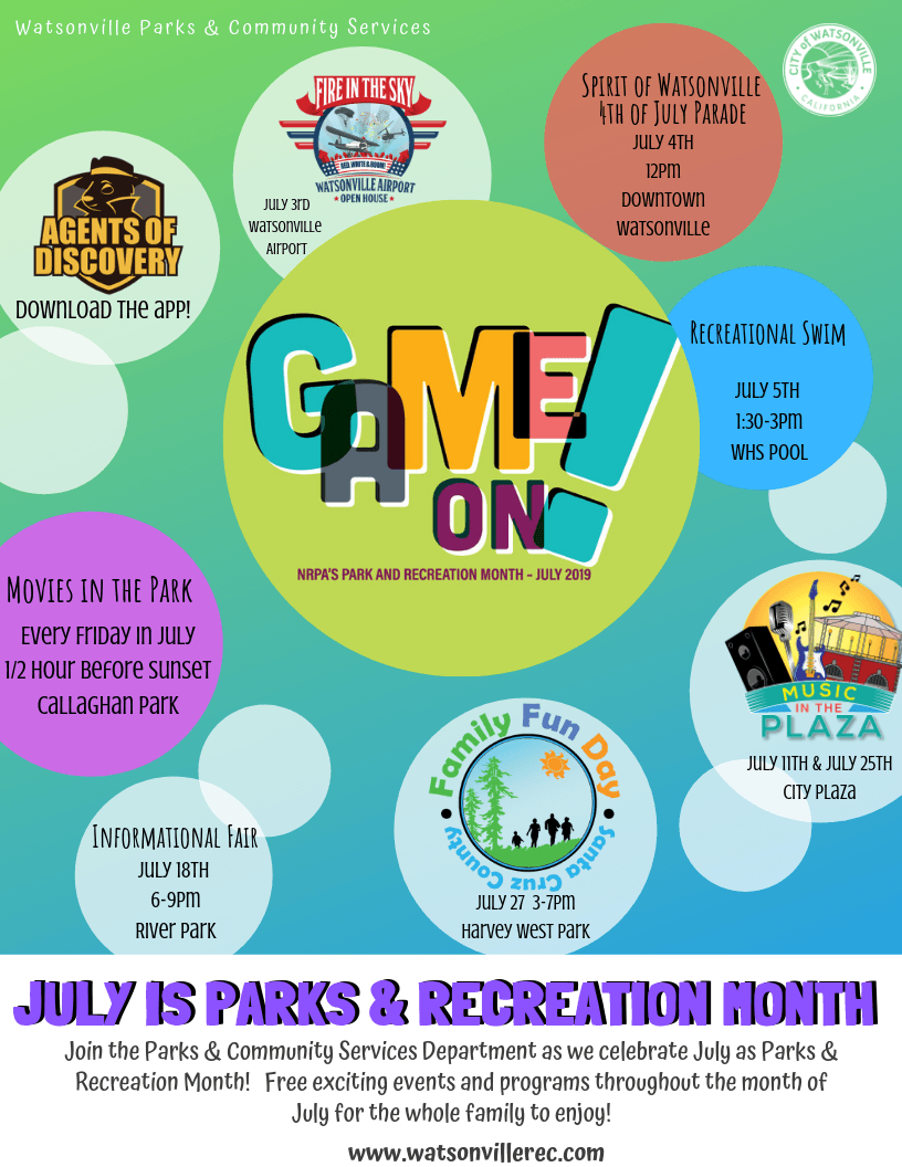 JULY IS PARKS  RECREATION MONTH 2019