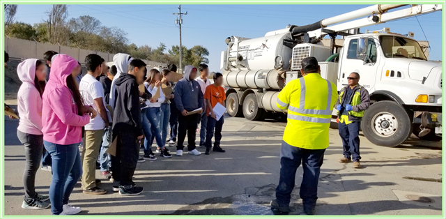 Students during a tour of the Water Recycling Plant