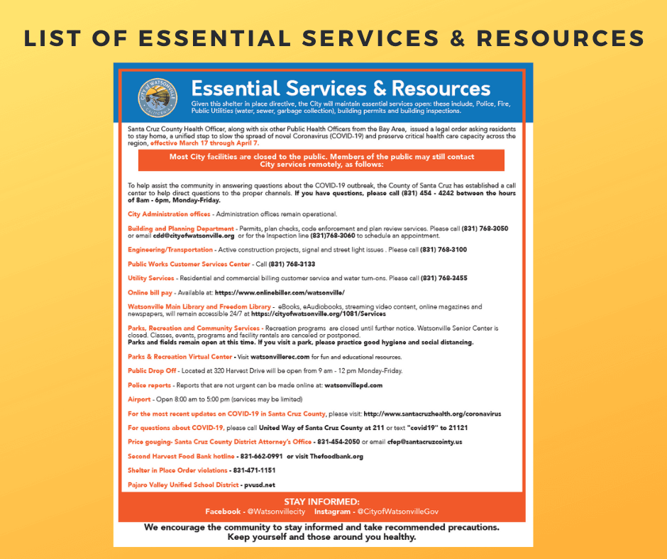 List of essential services Resources