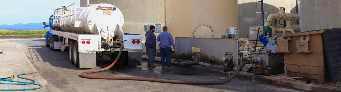 Image of tank tank leaving fats, oils, and grease, waste at FOG station at City of Watsonville Water