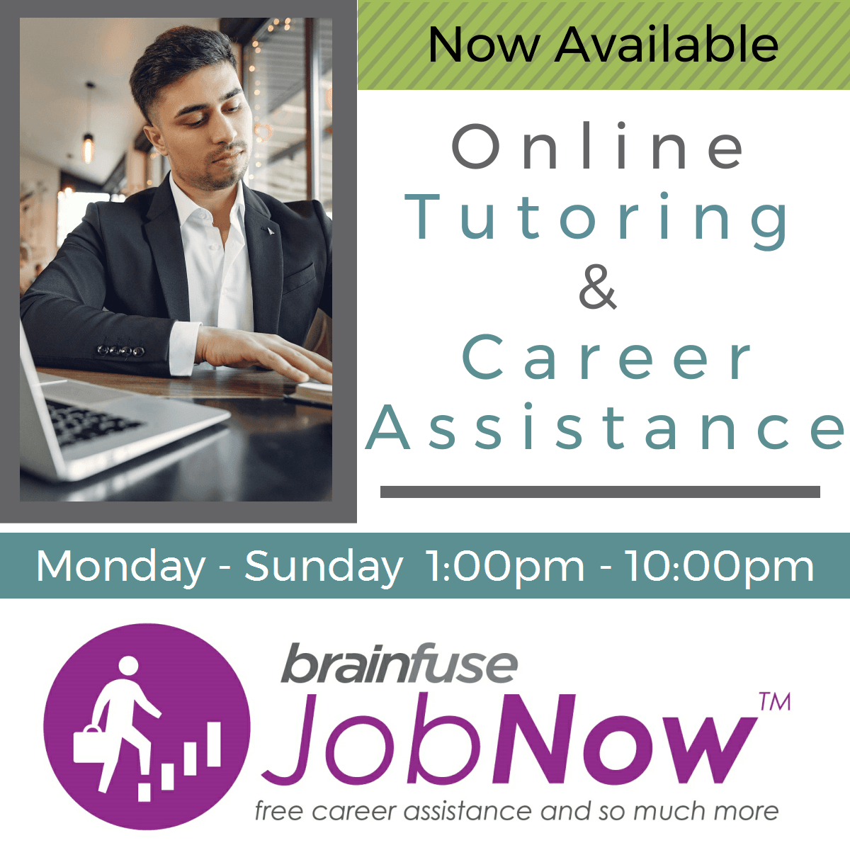 free online tutoring and career assistance available through brainfuse job now service