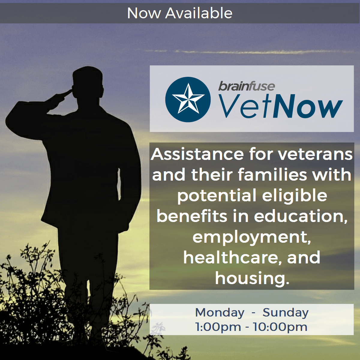 Brainfuse VetNew Assistance for Veterans RE: benefits, employment, housing. Call for help 768-3400