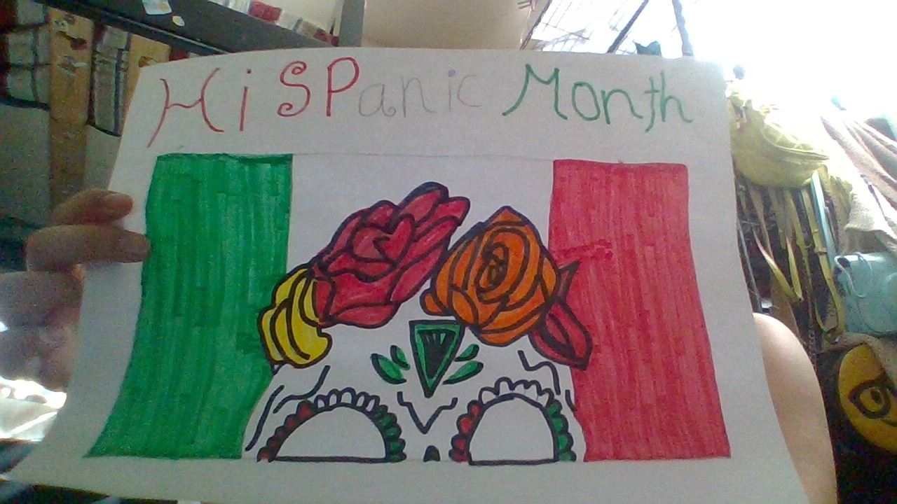 drawing of the mexican flag with part of a day of the dead skull and roses coming out of it