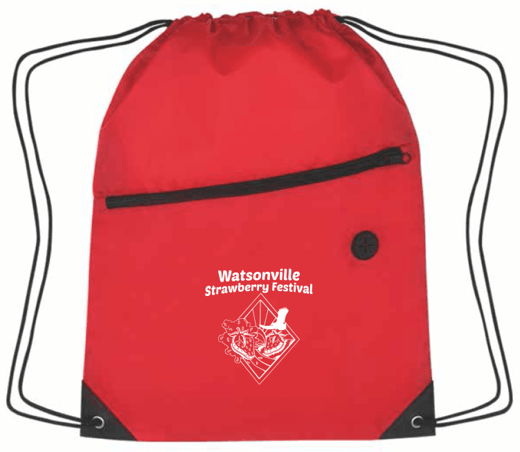 Red drawstring bag with Strawberry Festival logo