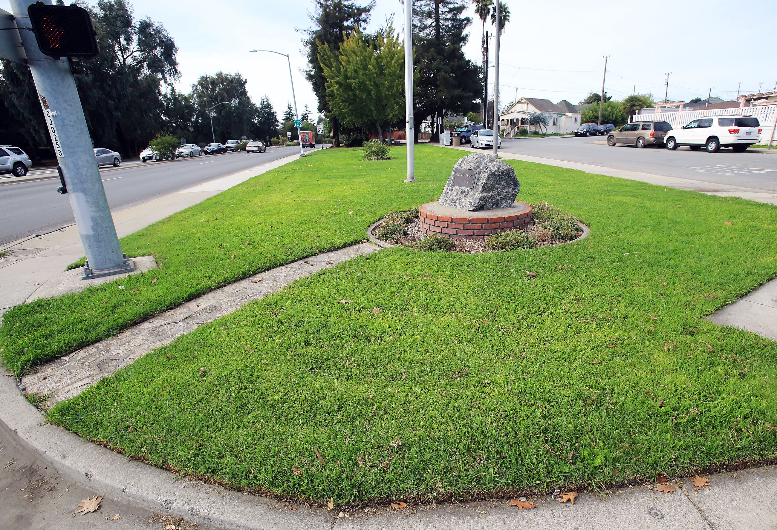Greenspace with rock dedication at Memorial Park