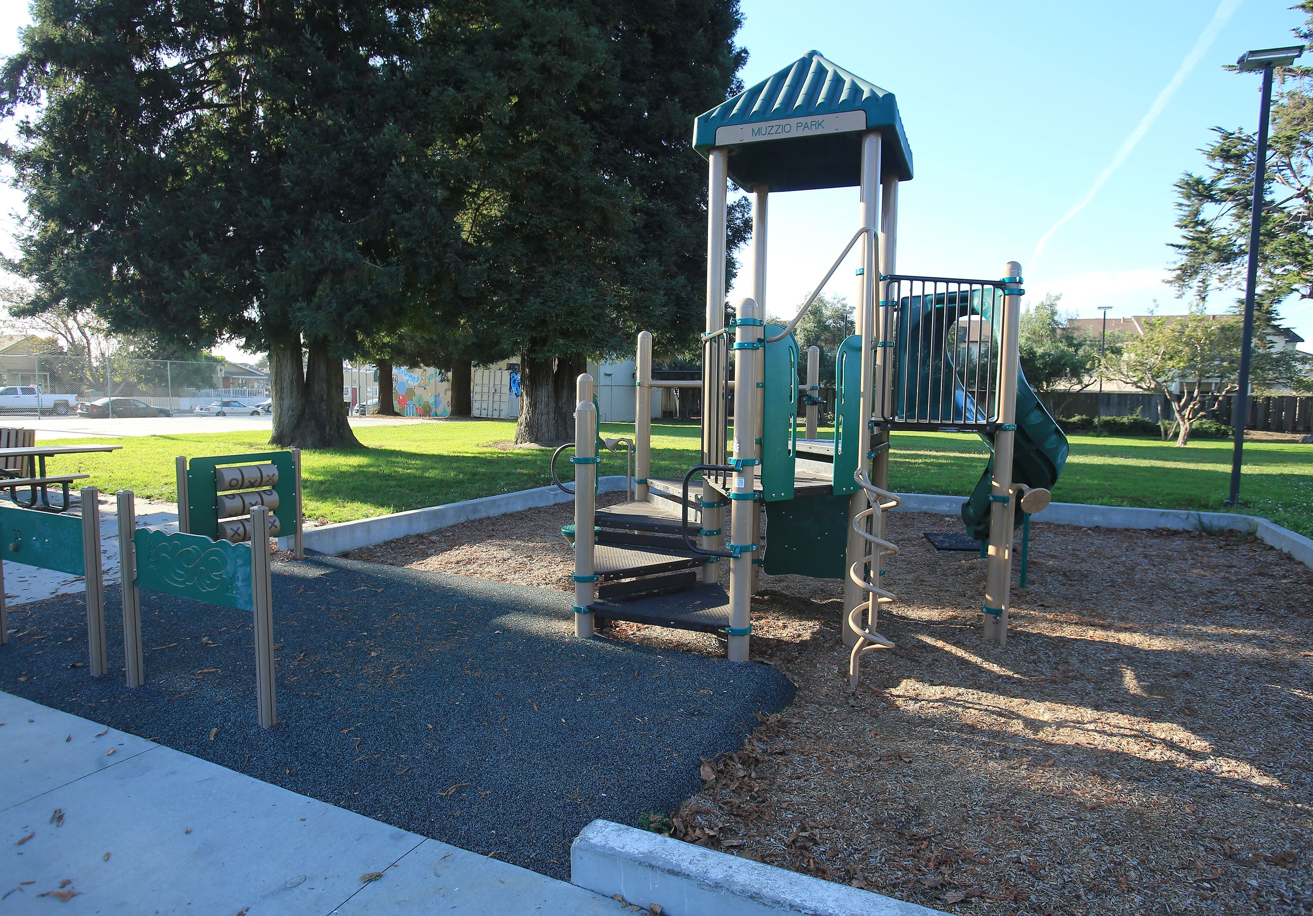 Playground structure at Muzzio park
