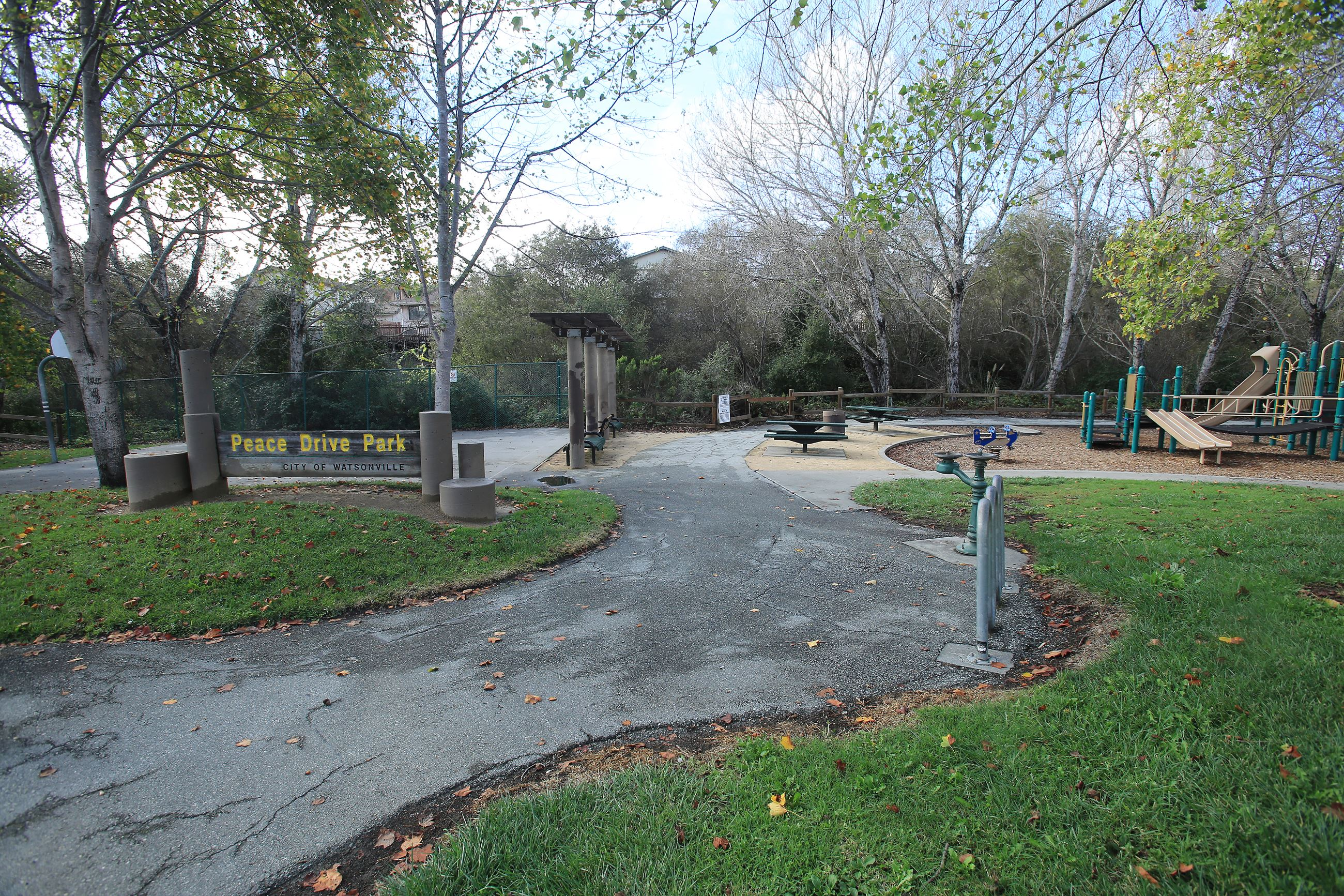 Peace Drive park sign and path