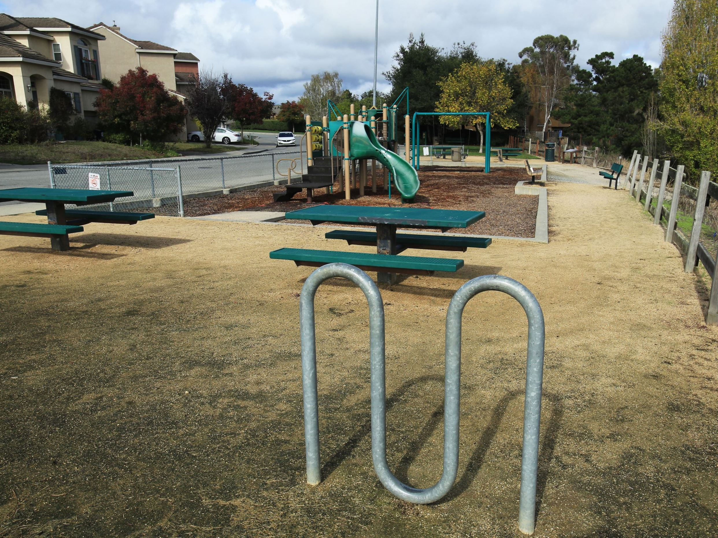 Playground and picnic tables at Hope park
