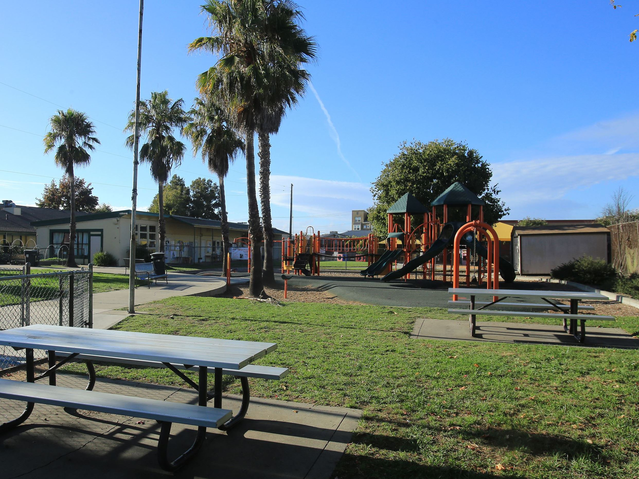 Picnic table and playground structure at Marinovich park