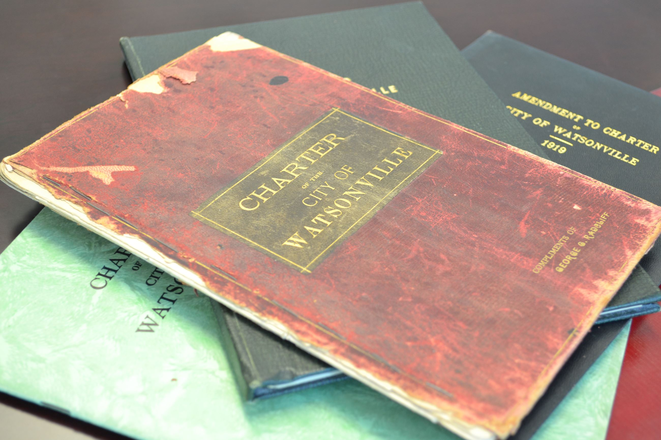 A binder containing the Watsonville City Charter.