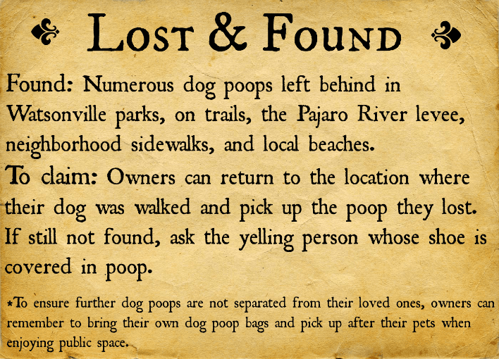 Lost and Found Dog Poop in Watsonville