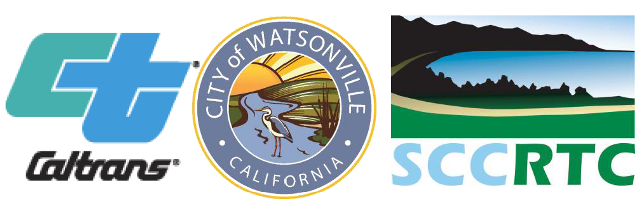 Logos graphic - City of Watsonville, Caltrans and Santa Cruz Co. Regional Transportation Commission