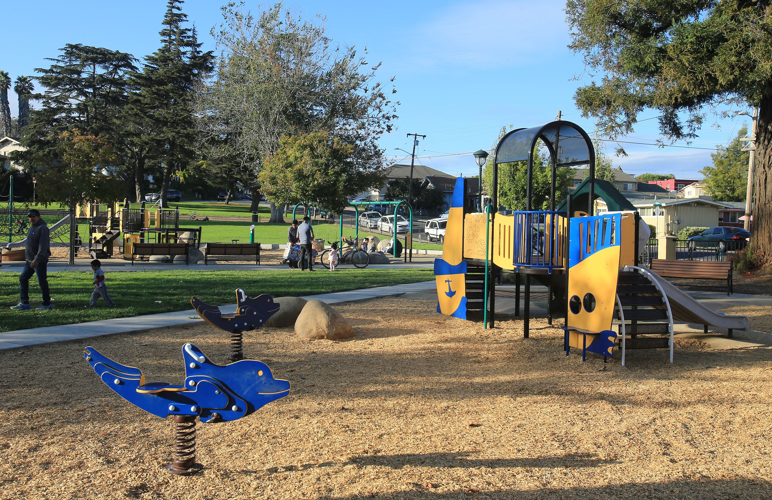 Callaghan park playground area with sand