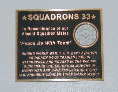 Squadrons 33 In Remembrance of our Absent Squadron Mates Plaque