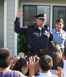 Police Officer Talks to Group of Kids