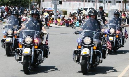 Police Officers Ride Motorcycles